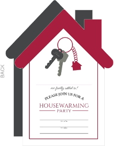 Red Keychain Housewarming Fill In The Blank Invitation