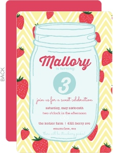 Strawberry Mason Jar Birthday Party Invitation