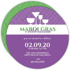 Drinks Silhouette Mardi Gras Invitation