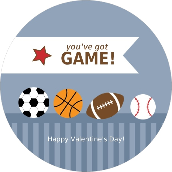 Sports Balls And Stripes Valentines Day Card – Sports Valentines Cards