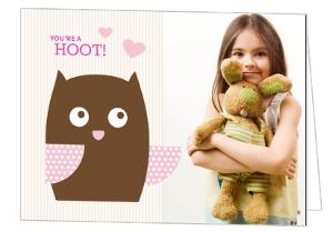 Pink Owl Valentine Card