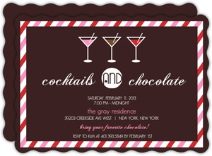 Cocktails And Chocolate Martini And Stripes Valentines Day Party Invitation
