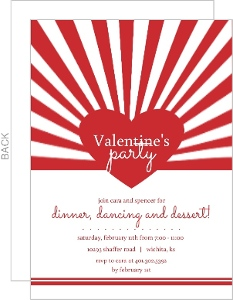 Red Bursting Heart Valentine S Day Party Invitation