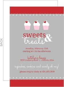 Hearts And Cupcake Treats Valentines Day Party Invitation