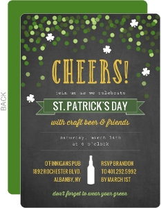 Festive Confetti Cheers St Patrick S Day Invitation