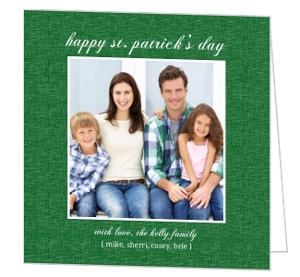 Simple Green Burlap St Patrick S Day Card