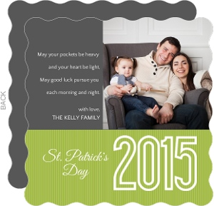Modern Gray And Green Stripe St Patricks Day Card
