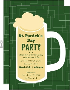 Beer Mug St Patrick S Day Invitation