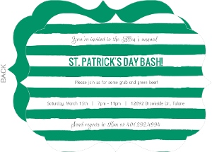 Simple Green And White Stripes St Patrick S Day Invitation