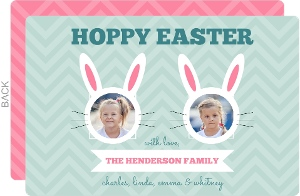 Whimsical Cut Out Hoppy Easter Family Easter Card