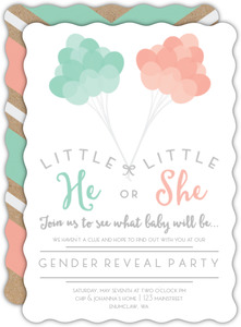 mint and peach balloons gender reveal party invitation - Gender Reveal Baby Shower