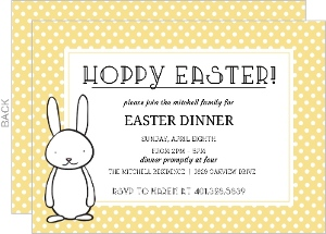 Yellow Polka Dot Easter Party Invitation