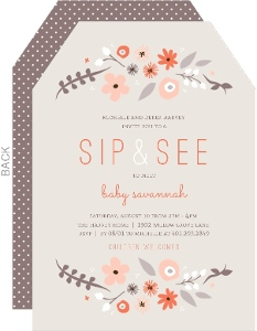 Whimsy Floral Frame Sip See Baby Shower Invitation