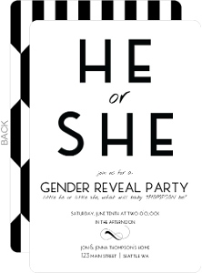 Sophisticated Black and White Gender Reveal Party Invitation