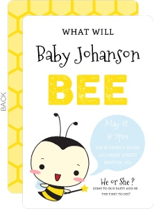 Cute Little Bee Gender Reveal Party Invitation