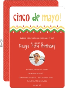 Chevron Fiesta Color Cinco De Mayo Invitation