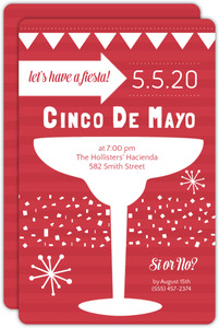Red Striped Cinco De Mayo Party Invite