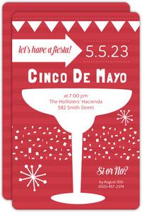 Red Striped Cinco De Mayo Party Invite