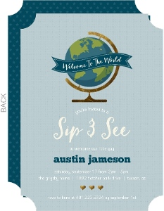 Welcome To The World Sip See Baby Shower Invitation