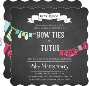 Bowties or Tutus Gender Reveal Party Invitation