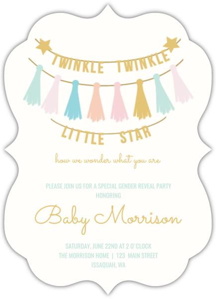 Twinkle Twinkle Little Baby Gender Reveal Party Invitation – Baby Gender Reveal Party Invitations