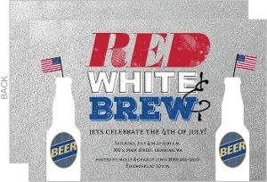 Faux Silver Red White Brew 4Th Of July Invitation