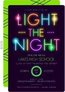 Birghts Colors Light The Dark Typography Prom Invitation