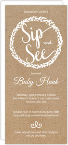 Kraft Wreath Baby Sip and See Party Invitation