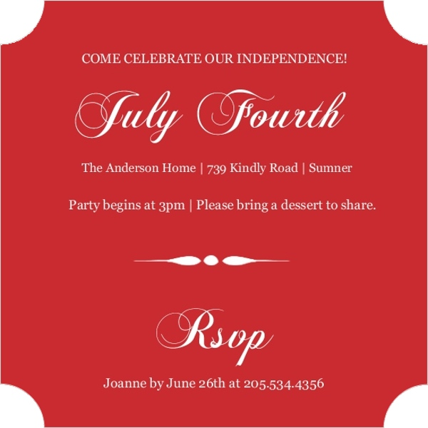 Blue and Red Western Fourth of July Invite