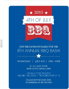 Blue And Red Banner Modern Fourth Of July Invitation