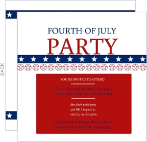 Fourth Of July Patriotic Party Invite
