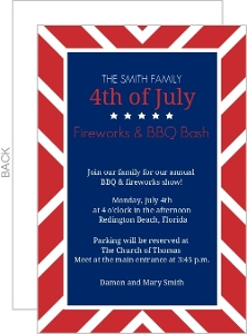 Patriotic Red And Blue Bbq 4Th Of July Invitation