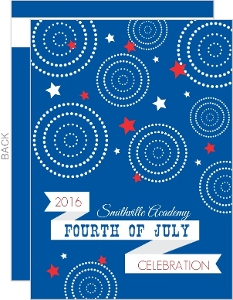 Modern Blue  Red and White Fireworks and Stars 4th of July Invitation