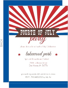 Red And Blue Stripe And Banner July 4Th Invitation