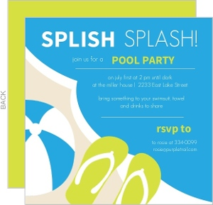 Blue And Green Pool Party Invite