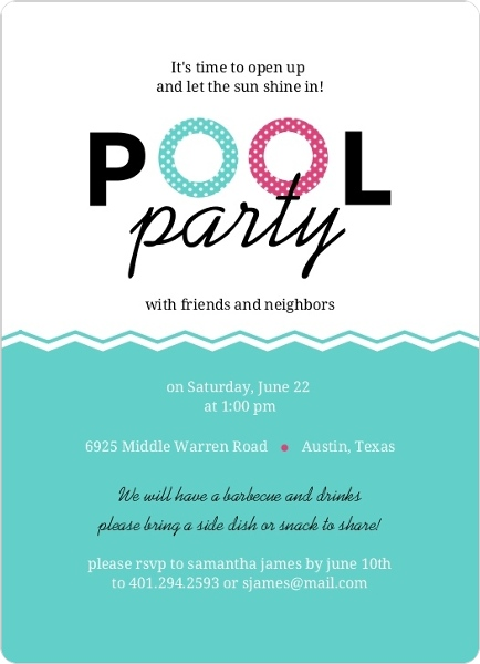Floaties Pink And Turquoise Pool Party Invitation – Invitation Pool Party