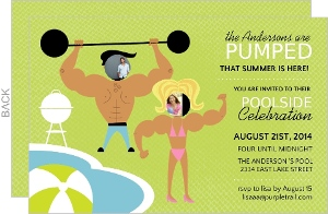 Green Muscle Man And Woman Pool Party Invite