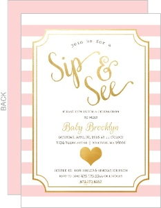 Modern Faux Foil Sip and See Party Invitation