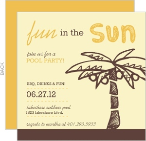 Orange And Brown Palm Tree Pool Party Invitation