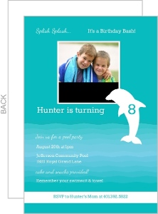 Turquoise Porpoise Pool Party Invitation