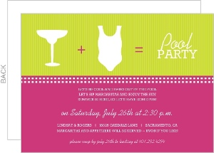 Pink And Green Modern Icons Pool Party Invitation