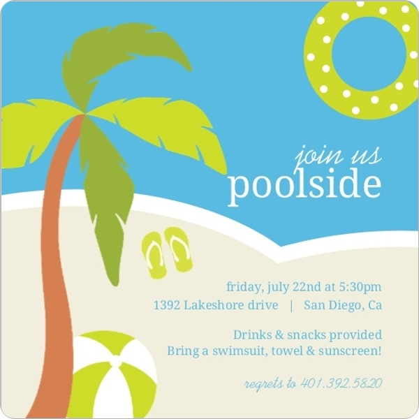 Poolside Toys Pool Party Invitation – Cool Pool Party Invitations