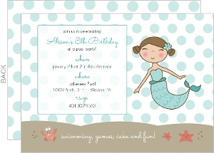 Blue Mermaid And Dots Kids Pool Party Invitation