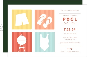 Yellow Tangerine And Turquoise Modern Squares Pool Party Invite