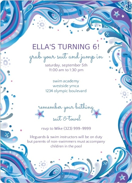 blue swirly swim party invitations    pool party invitations, invitation samples