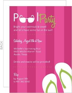 Pink And Green Towel Pool Party Invitation