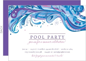 Blue And Purple Swirl Pool Party Invite