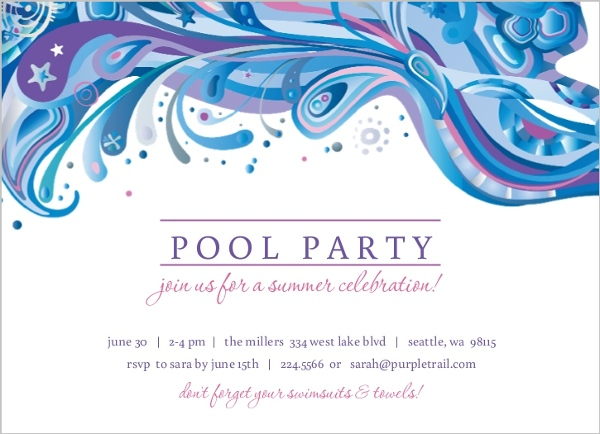 Blue And Purple Swirl Pool Party Invite | Pool Party Invitations