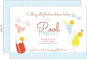 Adult Summer Drinks Pink And Blue Pool Party Invitation