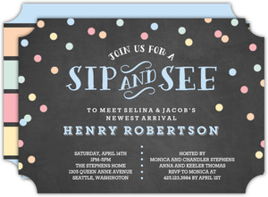 Pastel Confetti Sip and See Baby Shower Invitation